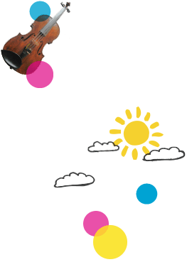 violin, pig and coloured bubbles